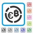euro bitcoin diagram framed icon vector image vector image