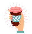 female hand holding disposable coffee cup vector image
