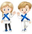 finnish boy and girl waving hello vector image vector image
