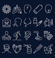 flu and coronavirus icon set in thin line style vector image