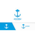 graduate hat and anchor logo combination vector image vector image