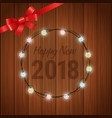 happy new 2018 year greeting card with garland vector image vector image