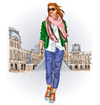 Lady Strolling the Streets vector image vector image