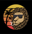 lion sunset retro vector image vector image