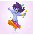 little cartoon krishna with a flute vector image