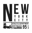 new york brooklyn bridge typography for t-shirt vector image vector image