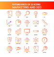 orange futuro 25 marketing and seo icon set vector image vector image