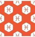 Orange hexagon Pisces pattern vector image