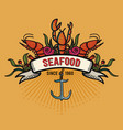seafood in cartoon style restaurant logo with vector image vector image