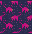 seamless pattern funny magenta cats vector image