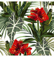 seamless pattern red lilies flowers vector image vector image