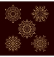 Set from five Gold Floral Mandalas vector image vector image