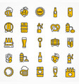 set of linear yellow beer vector image