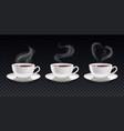 steamy cups smoke set vector image
