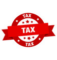 tax ribbon tax round red sign tax vector image vector image