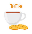 tea time oat cookies cartoon flat style vector image