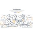 teambuilding - modern line design style web banner vector image