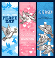 white dove of peace sketch banner with pigeon bird vector image vector image