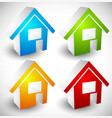 3d house home symbols icons in 4 colors for real vector image vector image