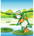 A happy frog standing above the waterlily vector image vector image
