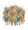 big crowd happy people isolate on white vector image vector image