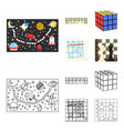 board game cartoonoutline icons in set collection vector image vector image