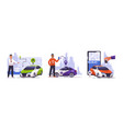 car sharing cartoon men with vehicle mobile vector image