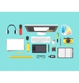 Cartoon Designer Workplace vector image vector image