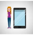 cartoon girl and smart phone touchscreen vector image