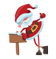 cartoon santa claus with a wooden tablet vector image