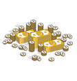 cash money banknites stacks and coins piles vector image vector image
