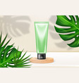 cosmetic product at wooden podium with palm leaves vector image