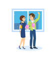 couple in love walks on background to streets of vector image vector image