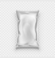 crumpled white foil pillow bag for food packaging vector image vector image