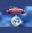 crystal ball snowball with snowy christmas tree vector image vector image