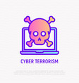 cyber terrorism hackers attack thin line icon vector image