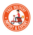 delivery worker in motorcycle vector image vector image