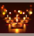 diwali festival poster with diya candles vector image