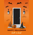 entrance door decorated for halloween night party vector image