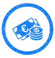 euro and dollar cash rounded icon rubber stamp vector image vector image