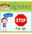 Flashcard letter S is for stop sign vector image