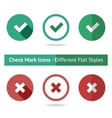 Flat check marks set Different kinds of flat vector image vector image