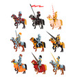 flat set of royal knights in steel shiny vector image