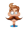 funny cute cartoon man mustache vector image