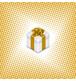 gift box on a halftone background vector image vector image
