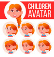 girl avatar set kid redhead high school vector image vector image