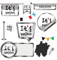 glossy icons with flag of daejeon south korea vector image vector image