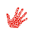 hand with red hearts vector image