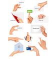hands holding different business objects vector image vector image