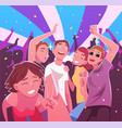 happy young men and women having fun and dancing vector image